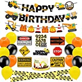 Construction Party Supplies Dump Truck Birthday Banner Cake Topper Traffic Road Signs Caution Tape Balloons Decorations Kit for Kids Birthday Party