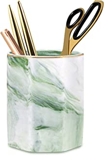 WAVEYU Pencil Holder, Pencil Cup for Desk, Makeup Brush Holder Cup, Cute Pencil Stand Marble Decorative for Kids Durable Ceramic Desk Organizer for Office, Classroom, Home, Green Marble