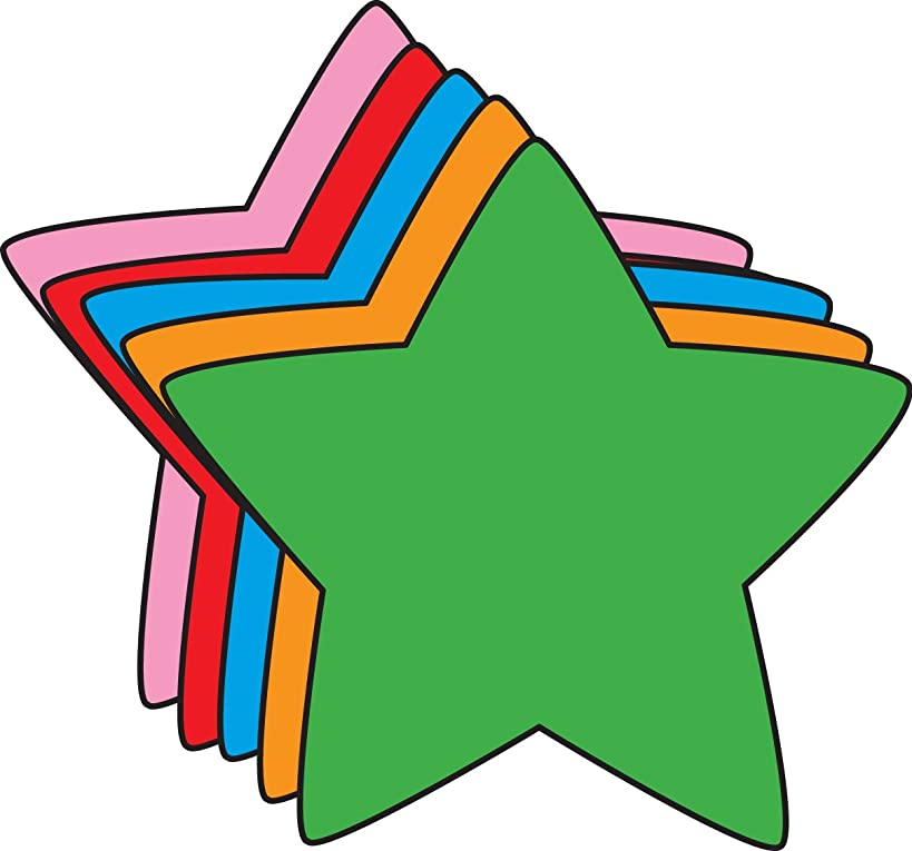 "5.5"" Star Assorted Color Creative Cut-Outs, 31 Cut-Outs in a Pack for Star Inspired Classroom/School Craft Projects."