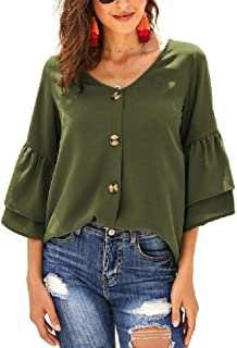 S-Fly Women's Casual Shirt V-Neck Sexy Button Up 1/2 Sleeve Shirts Tops Blouse