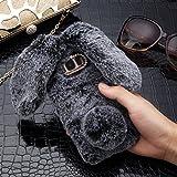 LCHULLE Hase Schutzhülle für Samsung Galaxy J3 (2016) Hülle, Galaxy J3 (2016) Tasche, Niedlich Häschenohren Weicher TPU Abdeckung Bling Kristall Silikonhülle Schick Plüsch Hüllenabdeckung, Grau