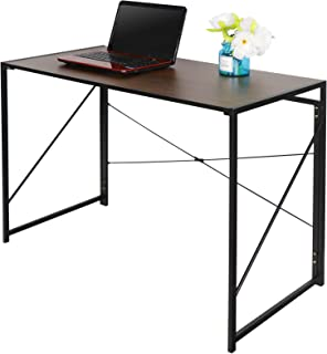 Folding Writing Computer Desk Home Office PC Laptop Table Multipurpose Workstation with Solid Steel Frame/Waterproof Desktop