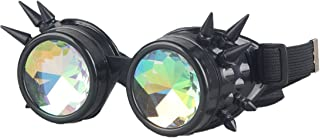 Kaleidoscope Steampunk Rave Goggles with Colorful Rainbow Crystal Glass lens