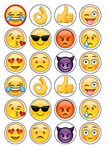 Essbare Oblaten, mit Emoji-Motiven, 24 Stück