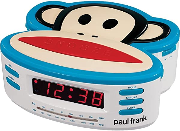 Paul Frank PF250 Single Alarm AM FM Clock Radio With Battery Back Up