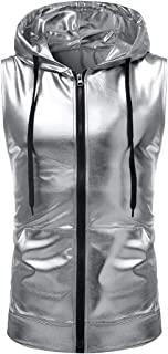 HEFASDM Men's Vests Satin Nightclub Vogue Sleeveless Hoodies Sweater
