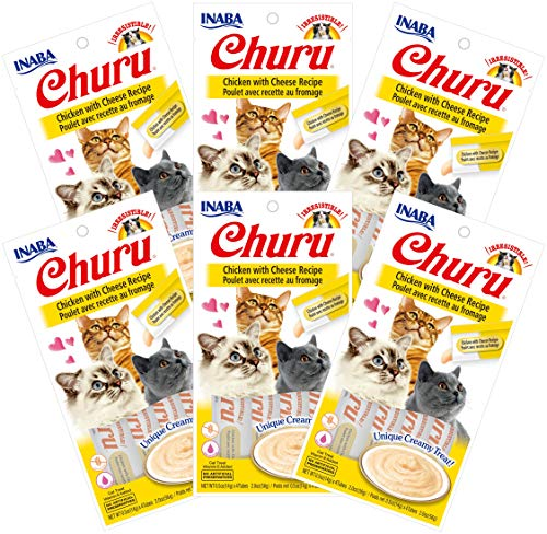 INABA Churu Chicken with Cheese Recipe Lickable Creamy Purée Cat Treats 24 Tubes