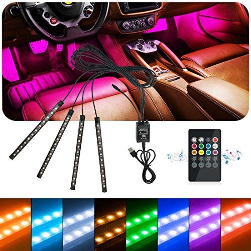 Idefair Bande LED pour intérieur de voiture multicolore et étanche, 48 LED, Kit d'éclairage pour dessous de tableau de bord et de musique pour camion, camionnette, poids-lourd