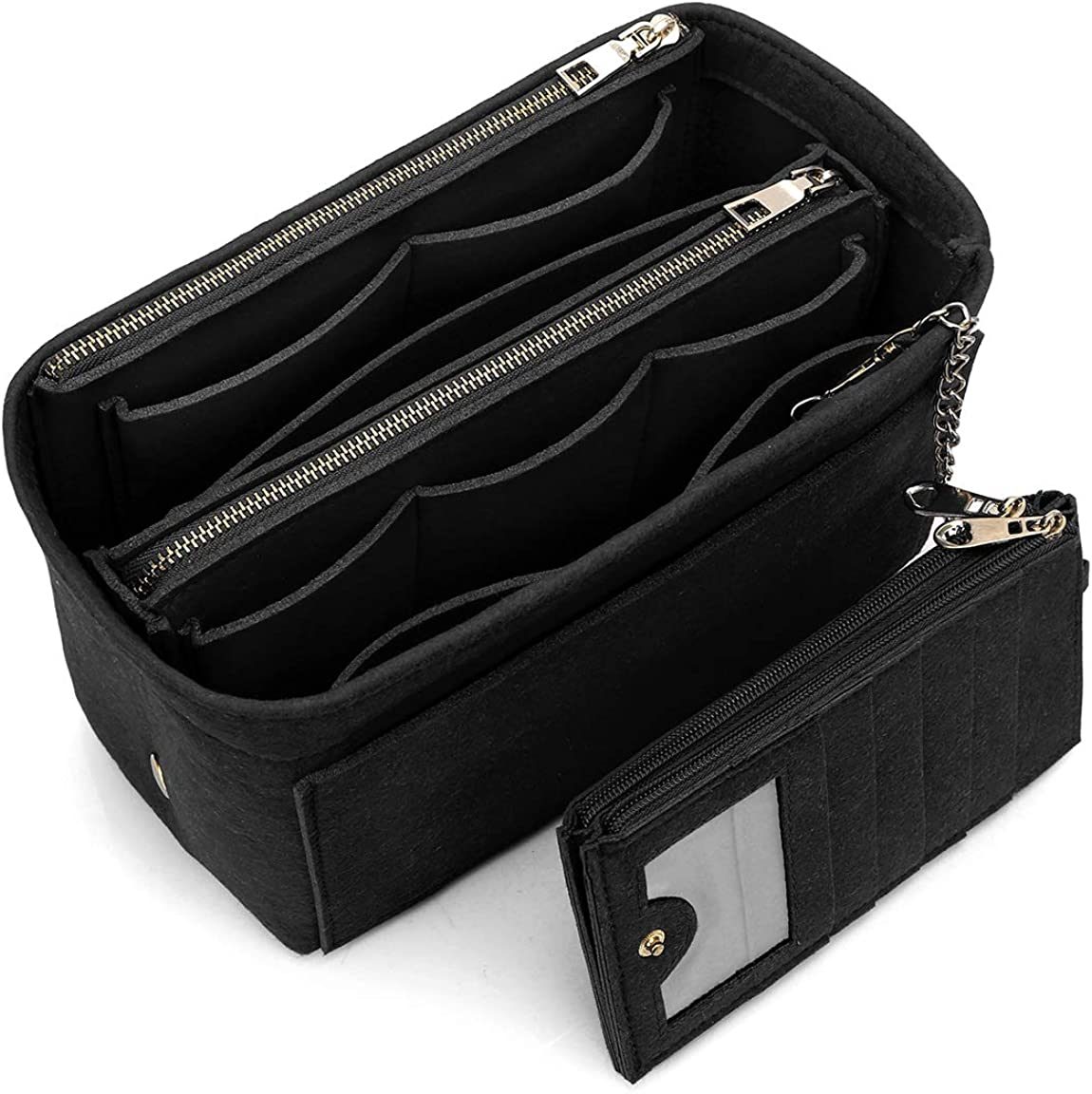 VANCORE バッグインバッグ 軽量 自立 Bag in Bag フェルト チャック付き 小さめ 大きめ バッグの中 整理 整頓 通勤 旅行 ブラック