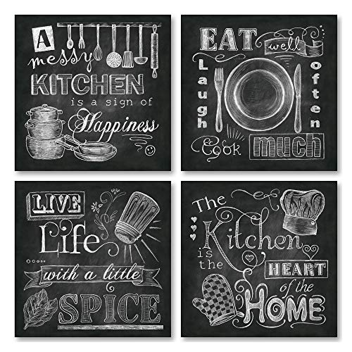 Beautiful, Fun, Chalkboard-Style Kitchen Signs; Messy Kitchen, Heart of The Home, Spice of Life, and Cook Much; Four 12x12in Paper Posters (Printed on Paper and Made to Look Like Chalkboard)