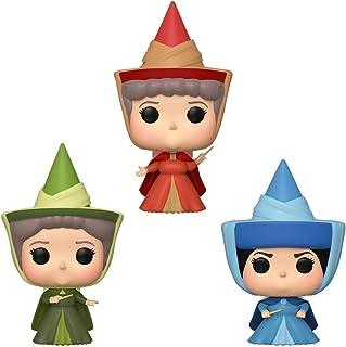 Funko Pop! Disney: Durmiendo Belleza – Flora, Fauna y Merryweather Fairy Godmother paquete de 3, Convención de Primavera Exclusiva, Multicolor