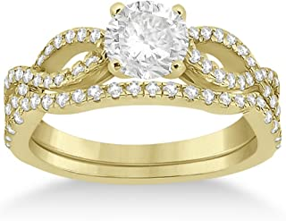 14k Gold Infinity Twisted Shank Diamond Engagement Ring with Band Setting for Women (0.18ct)