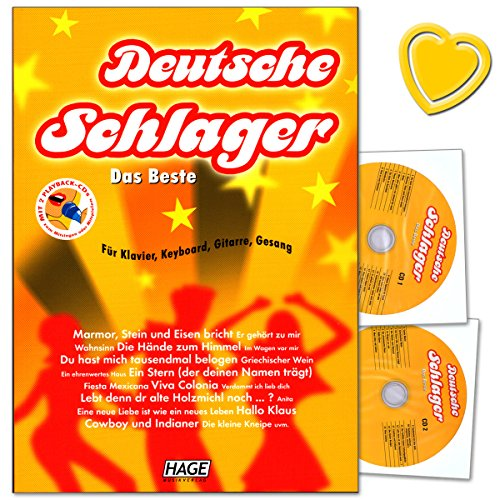 Deutsche Schlager Das Beste für Klavier, Keyboard, Gitarre und Gesang - leicht bis mittelschwer arrangiert, plus Songtexte, Akkorde und Akkord-Grifftabelle - mit 2CDs, herzförmiger Notenklammer