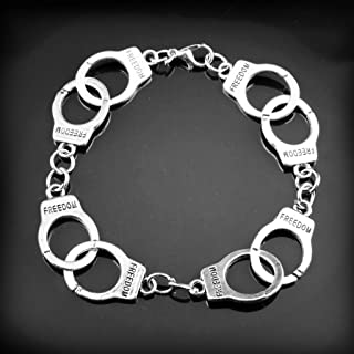 Joyplancraft Vintage Silvery Color Handcuffs Bracelet Fifty Shades of Grey Inspired Handcuffs Bracelet Lovers Bracelet Boyfriend Bracelet