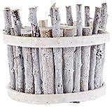 HEITMANN DECO Pflanzkorb rund aus Holz - Blumenkorb für Frühling und Sommer - ideal für Haus und Wohnung - Deko Frühling