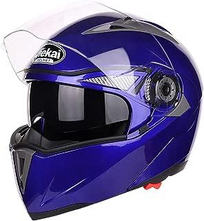 Motorcycle Helmet Locomotive Double Visor Flip Cover Modular Full Face Helmet Four Seasons Cross Country Helmet Mountain Bike Youth Kids Helmet,Blue,L