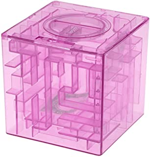 Gaoominy Plastique Cubique Tirelire de Labyrinthe Economies des Pieces Boite boitier de Collection Labyrinthe 3D Bleu