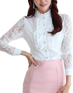 CRYYU Womens Chiffon Long Sleeve Lace Lotus Ruffle Button Down Blouse Shirt Tops