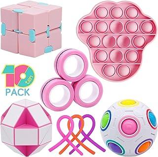 Figetget Toys Fidget Toys Pack - Fidgets Box Includes Infinite Fidget Cube, Pop-Its, Fidget Ring, Snake Puzzles, Magic Bal...