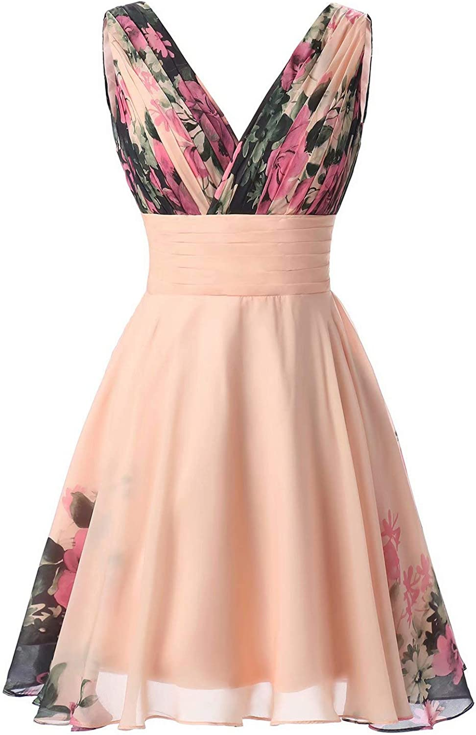 Honeywedding Women's Vintage Floral Printed Long Evening Dresses Maxi Pleated Waist Prom Ball Gowns