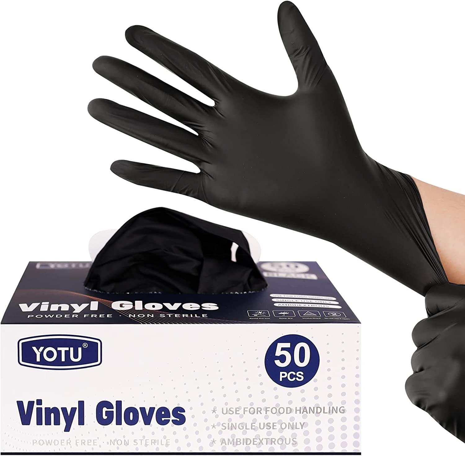 Black Disposable Vinyl Exam Gloves 50 Count, Home, Medical, Cleaning, Food, Latex/Powder Free Non-Sterile, Thickened 4-Mil