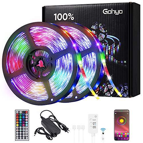 Tiras LED 5M*2 Impermeable, Gohyo Tira LED RGB 300 LEDs Función Musical, Tira de LED USB APP Control 16 Colores, 4 Modos DIY para Habitacio, Dormitorio, Fiesta, Festival, Decoracione