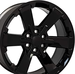 OE Wheels 22 Inch Fits Chevy Silverado Tahoe GMC Sierra Yukon Cadillac Escalade Silverado Rally Edition Flow Formed CV41 22x9 Rim CK162 Gloss Black Hollander 5662