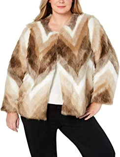 Alfani Womens Plus Chevron Dressy Faux Fur Coat