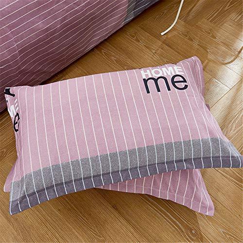 YUNSW Simple Plaid Striped Bedding 2 Kissenbezug Weiche Mikrofaser Anti-Milbe Hypoallergene Heimtextilien D 74x48cm