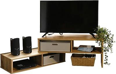 [山善] テレビ台 (伸縮式) 32型対応 幅80~127×奥行30×高さ36cm (好きな幅に調整できる/角度自由) ローボード オーク CSLB-800(OAK3D)