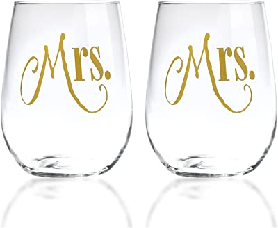 Mrs. and Mrs. Gay Couple Gold Stemless Wine Glasses