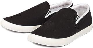 Leewon Men's White/Black Canvas Loafers & Moccasins-6