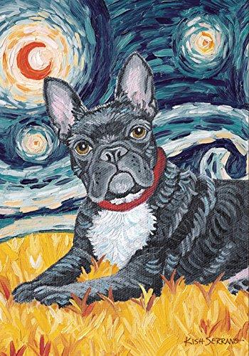 Toland Home Garden Van Growl French Bulldog 12.5 x 18 Inch Decorative Puppy Dog Portrait Starry Night Garden Flag
