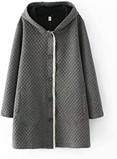 Women's Button Closure Hoodies Cotton Coat with Pockets