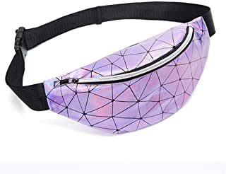 YWSCXMY-AU Women's Fashion Waist Packs Personalized Rock and roll Color PU Leather Flashing Lattice Belt Bag nerka Fanny Pack (Color : Purple)