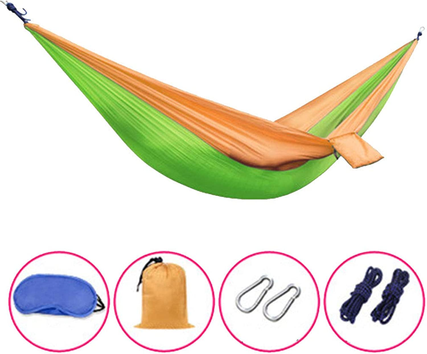 CUUYQ Camping Travel Hammocks, Portable Hammocks Includes Nylon Straps & Carabiners Camping Hammocks with Travel Bag for Outdoor Indoor,Green 2_250x130cm 210KG
