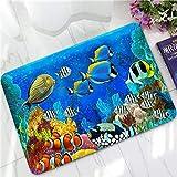 Felpudo Beach Love Heart Starfish Cover Frame Puerta De Entrada Piso De Goma Cocina Puerta De Bienvenida Alfombra Alfombra Alfombra Decoración del Hogar Regalo 40X60Cm