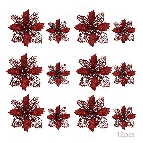 TDCQ 12pcs Fiori Artificiali Natalizi,Christmas Glitter Poinsettia,Stelle di Natale Fiori Artificiali Rosse,Poinsettia Artificiale,Stelle di Natale Fiori Artificiali,Christmas Glitter (Rosso)