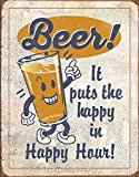 Desperate Enterprises Beer - It Puts The Happy in Happy Hour Tin Sign, 12.5' W x 16' H