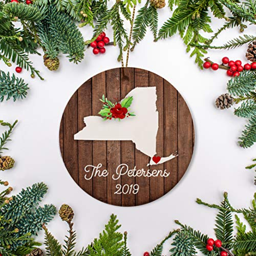 Tiukiu New York Christmas Ornament New House NYU Graduate First Year at College Just Moved Ornament Personalized Big Apple Ornament