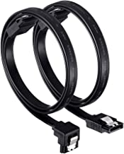 SATA Cable, 18-Inch SATA III 6.0 Gbps Cable with Locking Latch, 90-Degree and Straight Cable, 1.5feet(Black. (1.5feet)