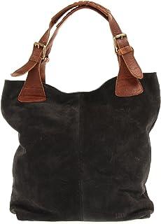 LECONI Henkeltasche Echt-Leder Wildleder Damentasche Handtasche für Damen Shopper für Freizeit, Büro oder Shopping Beuteltasche Frauen Ledertasche Veloursleder 34x35x10cm LE0033-V