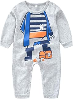 Weixinbuy Baby Boys Girls Button-up Long Sleeve Winter Cotton Romper Pajamas Clothes Outfits