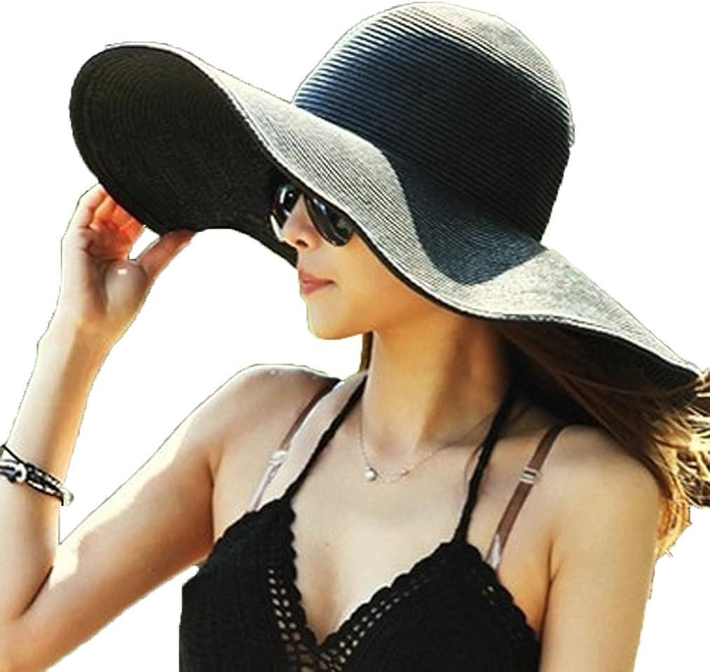 AngelCity Brides Womens Beach Hat Striped Straw Sun Hat Floppy Big Brim Hat