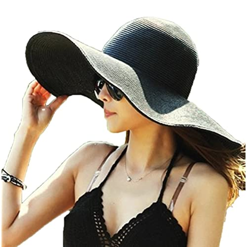 AngelCity Brides Womens Beach Hat Striped Straw Sun Hat Floppy Big Brim Hat 1dc9c9135a28