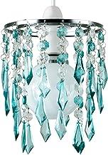 MiniSun – Tweelagse kroonluchter met hangende acryl juwelen, turkoois/transparant – Kristallen lampenkap kroonluchter – La...