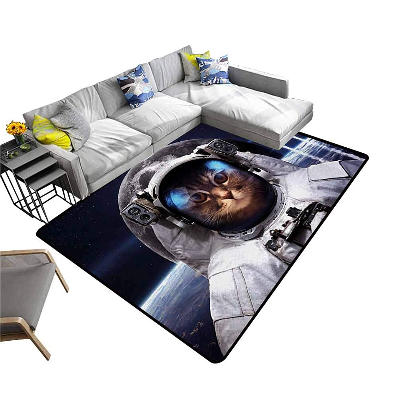 Bathroom Rug Kitchen Carpet Space Cat,Cat in Cosmonaut Outer Space Clothes in Cosmos Travel with Rocket,Navy Blue White and Red 36