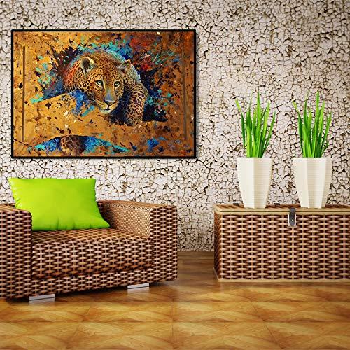SADHAF Modern abstract dierposter en print op canvas met luipaardschilderij op de muur. Woonkamerdecoratie 70X100cm (kein Rahmen) A6.