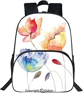 Oobon Kids Toddler School Waterproof 3D Cartoon Backpack, Summer Flowers in Retro Style Painting Effect Nature is a Blessing Art, Fits 14 Inch Laptop