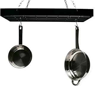 Fox Run 7801COM Rectangle Pot Rack with Chains and Hooks, 2 Inch, Black